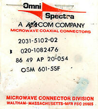 SMA CONNECTOR PLUG for RG-178 & 196 - Omni-Spectra 2031-5102-02 *NIB* Qty:4