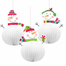 3 x Christmas Honeycomb 3D Hanging Snowman Party Decorations Childs Christmas