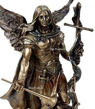**** ST GABRIEL ARCHANGEL HORN AND CROSS Statue /  Sculpture Antique Bronze Fnsh