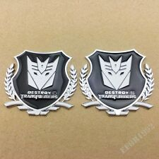 2pcs Car Trunk Hood 3D Logo Metal Badge Emblem Sticker Transformers Decepticon