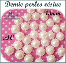 LOT 10 DEMI PERLES A COLLER RONDE NACRÉE SCRAPBOOKING SCRAP SHABBY CARTE 13mm