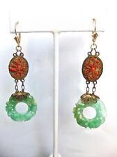 """Antique Carved Natural Jadeite Jade Pi Disc & Coral 3"""" Long 14K & Gilt Earrings"""