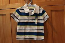Toddler boy CHEROKEE BLUE WHITE NEON YELLOW STRIPED COLLAR SHIRT TOP NWT 4T