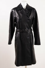 Calvin Klein Black Butter Leather Double Breasted Belted Trench Coat SZ S