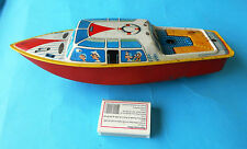 BOAT (ship ) - West Germany vintage lithographed wind up metal tin toy