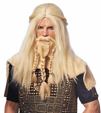BARBARIAN VIKING THOR CAVEMAN WARRIOR ADULT MENS MALE COSTUME WIG & BEARD BLOND