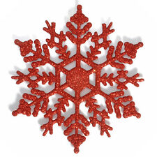 12PCS Red Glitter Snowflake Christmas Ornaments Xmas Tree Hanging Decoration