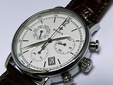 Swiza Men's Alza Chrono watch with brown leather strap, Swiss made.