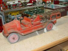 Vintage Buddy L Aerial Fire Truck, Pressed Steel, Toy Vehicle