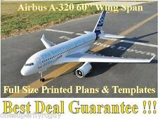 "Airbus A-320, 60"" WS Giant Scale RC Airplane Full Size PRINTED Plans & Templates"