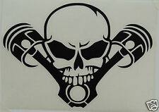 SKULL AND PISTONS Bumper Sticker/Decal windsurfing/Biker/vehicles/Goth