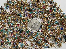 1000 HUGE LOT TINY VTG GLASS RHINESTONES COLORED AB CLEAR AUSTRIA CZECH PRECIOSA