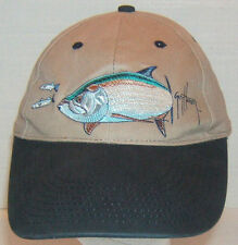 Guy Harvey Embossed Baseball Style Fishing Cap Cotton Tan One Size Fits Most
