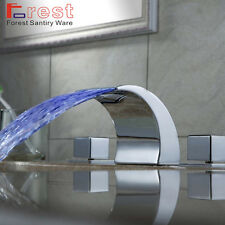 Modern Colour Changing LED Chrome Bathroom Basin Sink Mixer Tap Waterfall Faucet