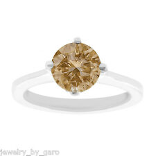 FANCY CHAMPAGNE BROWN DIAMOND SOLITAIRE ENGAGEMENT RING 14K WHITE GOLD 1.01 TCW