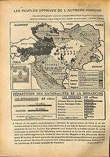 Map Carte Empire austro-hongrois Austria-Hungary People WWI 1918 ILLUSTRATION