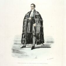 Antique FrenchItalian Lithograph, Vatican Costumes Rome, Prince Assistant, 1862