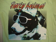 Party Animal Funny Dog Dress Up Cute Lime Green Soft Cotton T Shirt Size S
