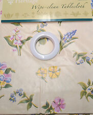 """SPRING FLORAL OFF CREAM PINK YELLOW GARDEN PVC WIPE CLEAN (69"""") ROUND TABLECLOTH"""