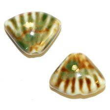 CPC274 Brown & Green 23x17mm Puff Corrugated Shell Glazed Porcelain Beads 10/pkg