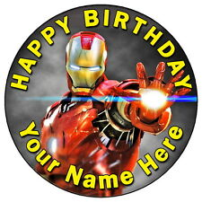 """IRON MAN COOL HERO PARTY - 7.5"""" PERSONALISED EDIBLE ICING CAKE TOPPER"""