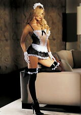 Sexy French Maid Set Venice Lace Trim Fishnet Babydoll Lingerie Adult Women