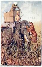 Edgar .H. FISHER . La chasse aux tigres . Tiger Hunting . OILETTE