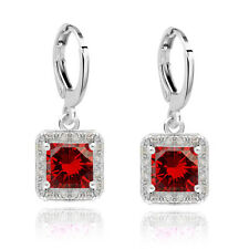 Vintage Style Silver Deep Red Zircons Rhinestone Hoops Drop Earrings E948