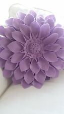 Round Lilac Purple Felt 3D Flower Cushion Pillow 16 inches