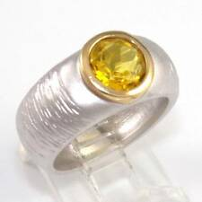 Brushed Sterling Silver Gold Vermeil Yellow Citrine Modernist Band Ring Size 8