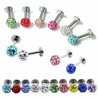 16G MULTI CRYSTAL Monroe Lip Stud LABRET Bar Tragus Body Piercing Surgical Steel