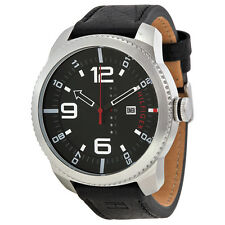 Tommy Hilfiger Black Dial Black Leather Strap Mens Watch 1791014