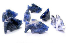 SWIMMING! 2 Hand Carved SODALITE KOI FISH BEADS 9265SD