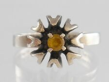 Retro .925 Sterling Silver Citrine Stone Floral Star Design Ring Sz 5 Starburst