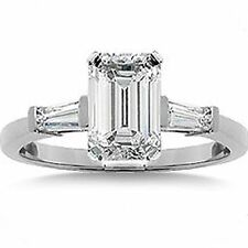 1 ct total, 0.73 carat EMERALD cut DIAMOND Engagement Ring w/ 2 Baguette, H, VS