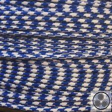 Textilkabel Stoffkabel Lampen-Kabel Stromkabel, Stern Königsblau Weis 3 adrig