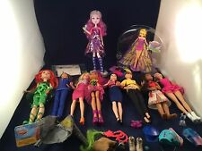 LOT OF 10 DOLLS BARBIE, MONSTER HIGH, SUPER HERO HIGH & MORE WITH CLOTHES
