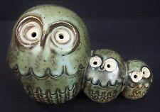 Green Hoot Owls Family of 3 Owls Ceramic Home Decor Peep Owl Figurine Statue