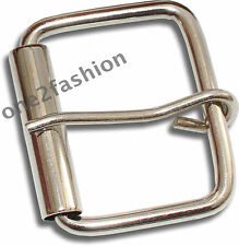 PLAIN SHINY SILVER PIN BELT BUCKLE FOR LEATHER & SNAP ON BELTS WITH HOLE