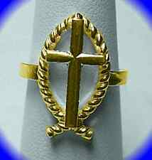 LOOK Jesus Christ God Son Saviour ICHTHUS Fish Cross Ring Gold plated sterling s