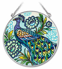 "AMIA STAINED GLASS SUNCATCHER PEACOCK  4.5"" ROUND  #41919"