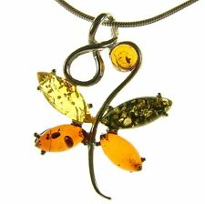 MULTI COLOURED BALTIC AMBER STERLING SILVER 925 BUTTERFLY INSECT ANIMAL PENDANT
