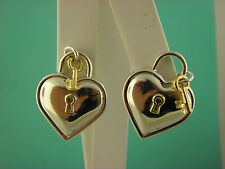 Tiffany & Co. Sterling Silver &18k Gold Heart & Key Clip on Earrings.