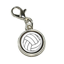 Volleyball - Antiqued Bracelet Pendant Zipper Pull Charm with Lobster Clasp