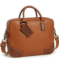 $840 Ted Baker Mens BROWN Messenger BRIEFCASE WORK TRAVEL LEATHER SATCHEL BAG