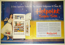 Vintage 1951 HOTPOINT REFRIGERATOR KITCHEN APPLIANCES Large Two-Page Magazine Ad