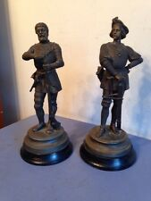 Pair Of Antique Spelter Hunter Statues Clock Garnitures Figures