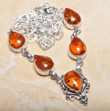 """Handmade Baltic Faux Amber Gemstone 925 Sterling Silver Necklace 19"""" #N00654"""