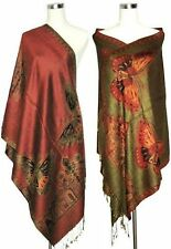 NEW Burgundy Double-side Butterfly Fancy Cashmere Women`s Pashmina Shawl/scarf
