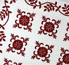 Red & White Hand Applique Sand Dollar QUILT TOP - Incredible vine border finish